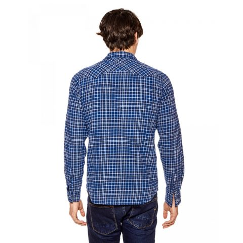 Funky Buddha Mens Shirt (Blue Check)