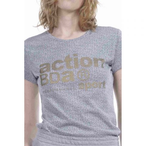 Body Action Women Logo Burnout T-Shirt (Grey)