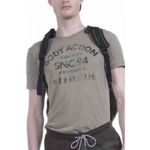 Body Action Men Round Neck T-Shirt (L.Khaki)