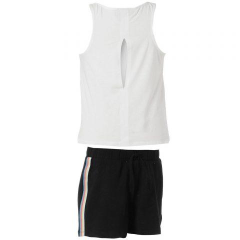 Energiers Σετ Κορίτσι σορτς μακώ και μπλούζα αμάνικη τύπωμα (Άσπρο-Μαύρο)