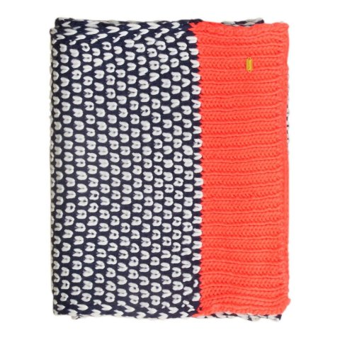 Superdry Spot Pop Colour Scarf (Navy / Fluro Coral Pop)
