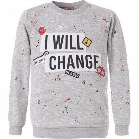 """ENERGIERS Μπλούζα Με Τύπωμα """"I Will Change"""" Και Διακοσμητικά Σήματα (Μελανζέ)"""