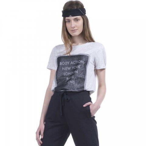 Body Action Women Mesh Long Line T-Shirt (Offwhite)