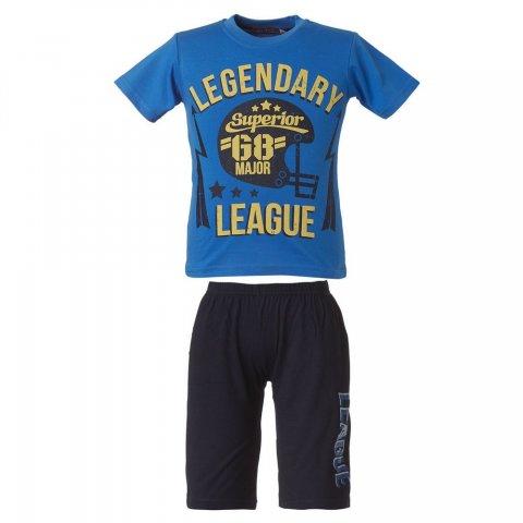 Energiers Σετ Αγόρι βερμούδα μακώ και μπλούζα τύπωμα (Μαύρο-Μπλε)