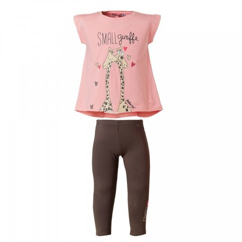 Energiers Σετ Κορίτσι Μπεμπέ κολάν μακρύ και μπλούζα τύπωμα (Ροζ-Ανθρακί)