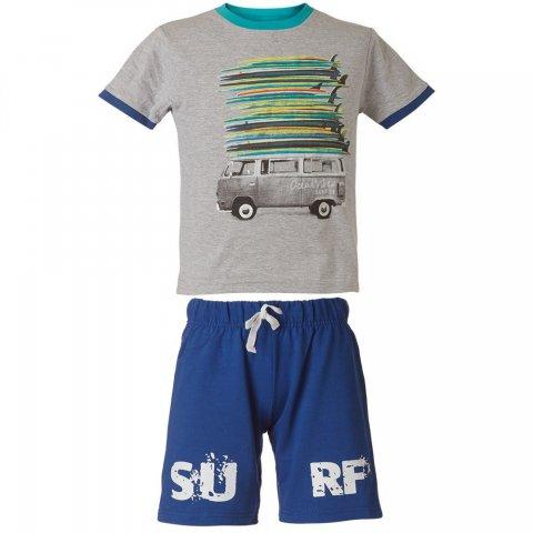 Energiers Σετ Αγόρι Bebe βερμούδα μακώ και μπλούζα τύπωμα (Μπλε-Γκρι)