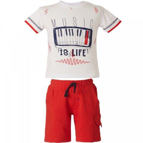 Energiers Σετ Αγόρι Bebe μπλούζα τύπωμα (Άσπρο-Κόκκινο)