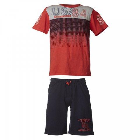 Energiers Σετ Αγόρι βερμούδα μακώ και μπλούζα τύπωμα (Κόκκινο-Μαρέν)