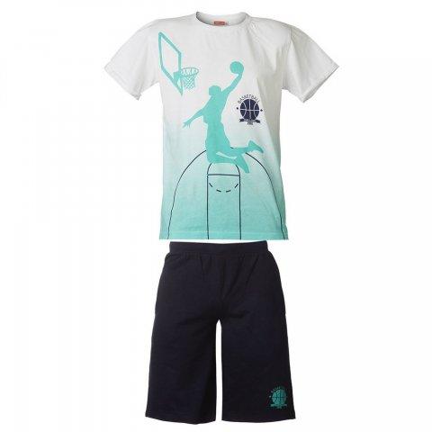Energiers Σετ Αγόρι μπλούζα τύπωμα (Άσπρο-Μαρέν)