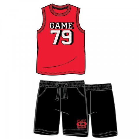 Energiers Σετ Αγόρι βερμούδα μακώ και αμάνικη μπλούζα τύπωμα (Μαύρο-Κόκκινο)