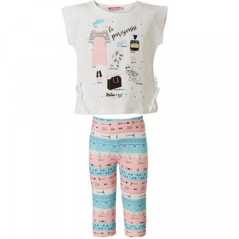 Energiers Σετ Κορίτσι Bebe κολάν εμπριμέ και μπλούζα με διακοσμητικά κρόσια (Άσπρο-Ροζ/Μπλε)