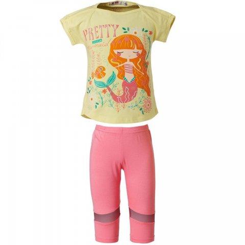Energiers Σετ Κορίτσι Bebe κολάν κάπρι με λεπτομέρειες τούλι και μπλούζα τύπωμα (Κίτρινο-Ροζ)