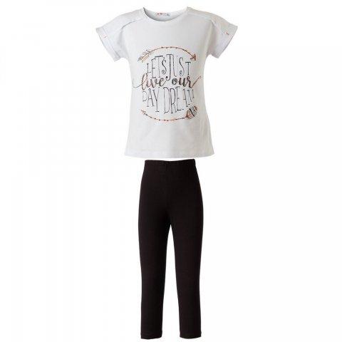 Energiers Σετ Κορίτσι κολάν κάπρι και μπλούζα με τύπωμα (Άσπρο-Μαύρο)