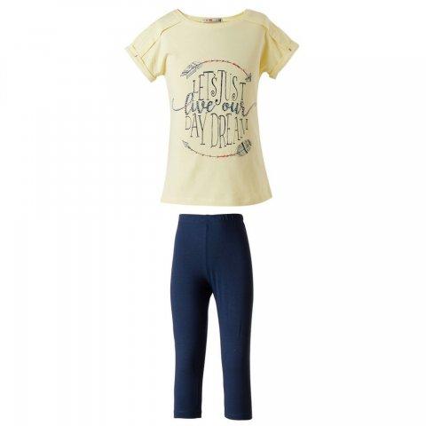 Energiers Σετ Κορίτσι κολάν κάπρι και μπλούζα με τύπωμα (Κίτρινο-Μαρεν)