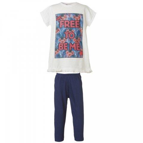 Energiers Σετ Κοριτσι κολάν κάπρι και μπλούζα με φλοράλ μοτίβο, στρας και κρόσια στον ποδόγυρο (Ιντιγκο)