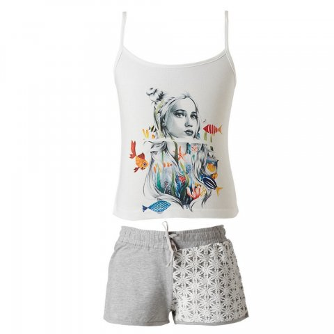 Energiers Σετ Κορίτσι σορτς με λεπτομέρειες δαντέλα και μπλούζα με τιράντα(Άσπρο-Μελανζέ)