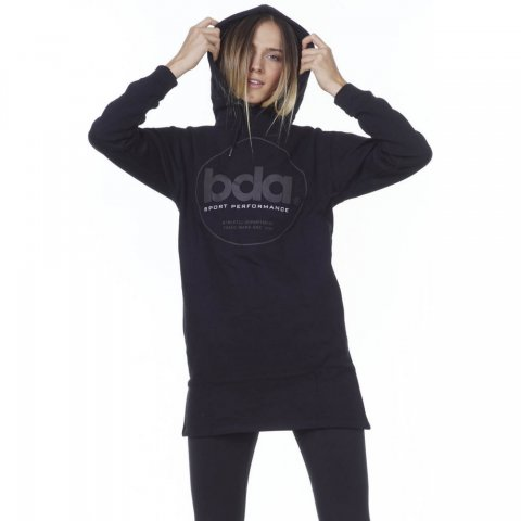 BODY ACTION WOMEN OVERSIZED HOODED DRESS - BLACK