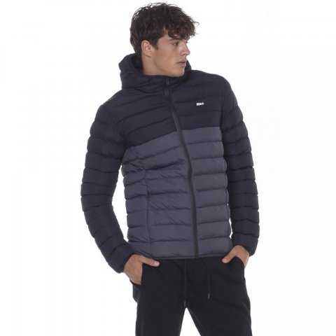 BODY ACTION MEN QUILTED JACKET WITH HOOD - CΗΑRCΟΑL