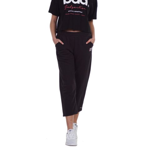 BODY ACTION WOMEN'S  WIDE LEG CROPPED JOGGERS BLACK