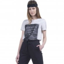 Body Action Body Action Women Mesh Long Line T-Shirt (Offwhite)