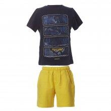 ENERGIERS Energiers Σετ Bebe Αγόρι βερμούδα μακώ και μπλούζα τύπωμα (Κίτρινο-Μπλε)
