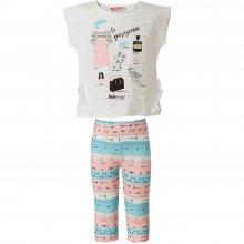 ENERGIERS Energiers Σετ Κορίτσι Bebe κολάν εμπριμέ και μπλούζα με διακοσμητικά κρόσια (Άσπρο-Ροζ/Μπλε)