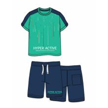 ENERGIERS Σετ βερμούδα αχνούδιαστο φούτερ και μπλούζα τύπωμα ΜΠΛΕ-ΠΡΑΣΙΝΟ