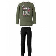 ENERGIERS Energiers ΣΕΤ Φόρμα μπλούζα με τύπωμα και παντελόνι μονόχρωμο ΜΑΥΡΟ-ΠΡΑΣΙΝΟ