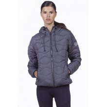 Body Action BODY ACTION WOMEN QUILT PADDED JACKET WITH HOODIE - BLACK
