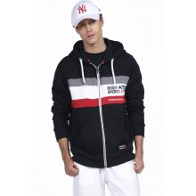 Body Action BODY ACTION MEN TRI COLOR ZIP HOODIE - BLACK