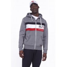Body Action BODY ACTION MEN TRI COLOR ZIP HOODIE - D.MEL.GREY