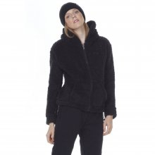 Body Action BODY ACTION WOMEN FLUFFY FLEECE HOODIE JACKET - BLACK