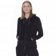 Body Action BODY ACTION WOMEN VELOUR HOODIE JACKET - BLACK