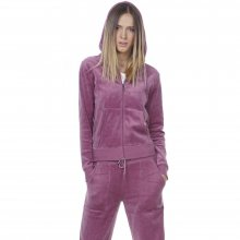 Body Action BODY ACTION WOMEN VELOUR HOODIE JACKET - PURPLE